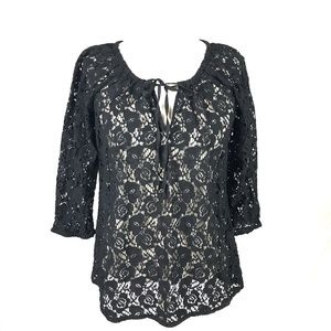 TOMMY BAHAMA Black Semi Sheer Floral Lace Top S